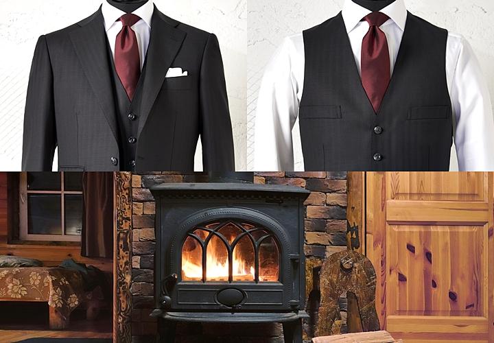スーツ×ベスト,ジャケット無し,暖かい