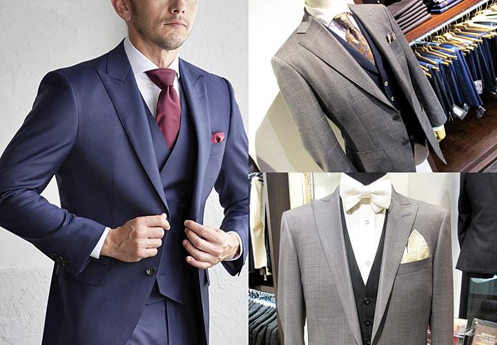 スーツ×ベスト,同色系のスリーピーススーツ,オッドベスト