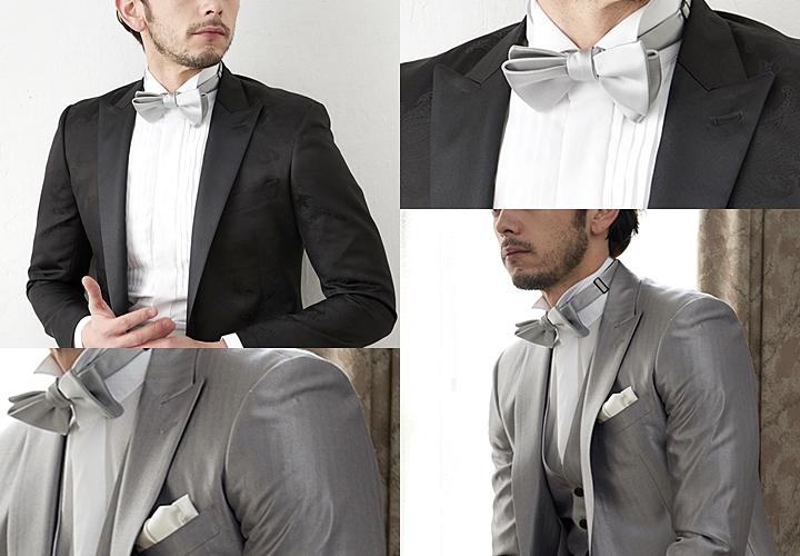 結婚式シーンにおすすめの蝶ネクタイ×ブラック・グレースーツスタイル