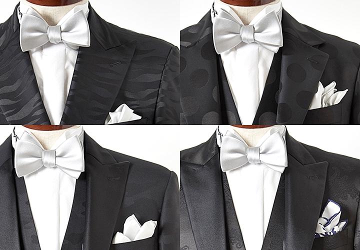 華やかなブラックスーツ×蝶ネクタイスタイル