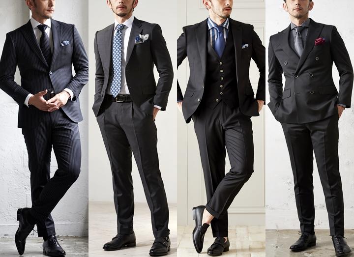 Global styleの「ブラック(黒)スーツ・ダークスーツの着こなしとシャツの合わせ方」の画像