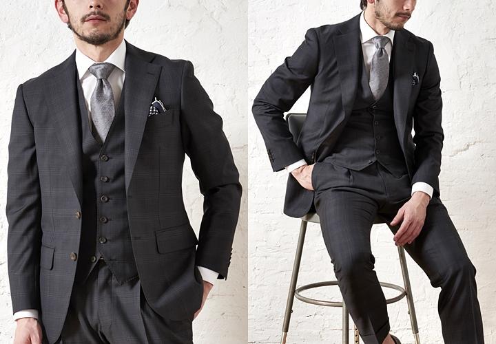 スリーピースのブラックスーツスタイル