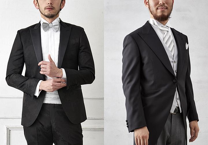 礼服用のブラックスーツ