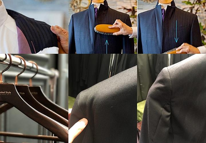 着用後のスーツに行う、ブラッシング