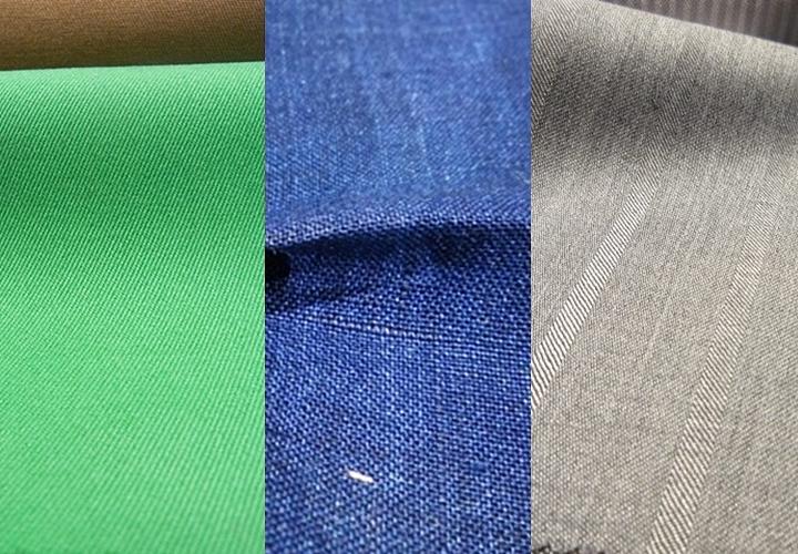 シワになりやすい素材 ▲左から綿→麻→シルク混▲