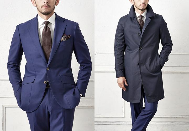 ネイビースーツとステンカラーコートスタイル