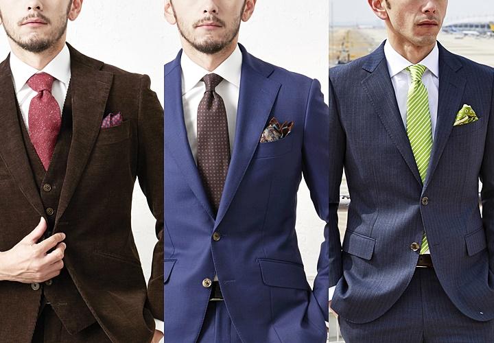 ネクタイの色×ポケットチーフの同色系