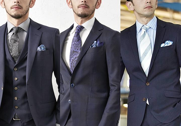 ネクタイorシャツの柄×ポケットチーフの色柄