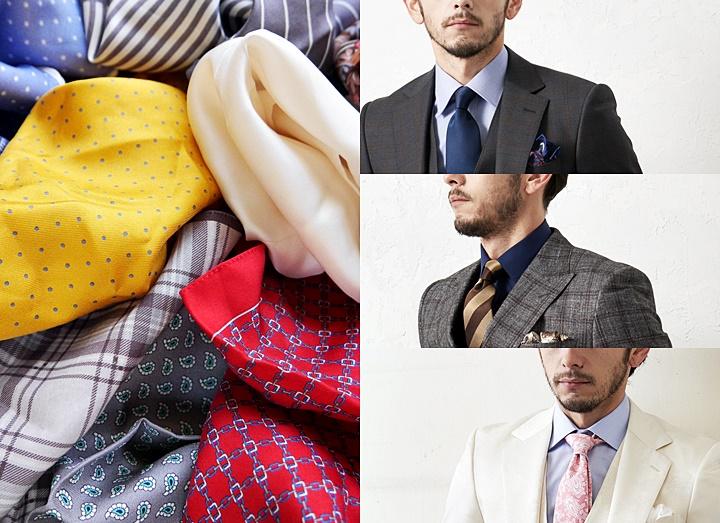 ポケットチーフの折り方・色の合わせ方-ビジネス・結婚式におすすめ-