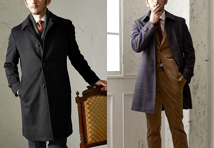 スーツに合わせたいブラック&チェック柄のコート