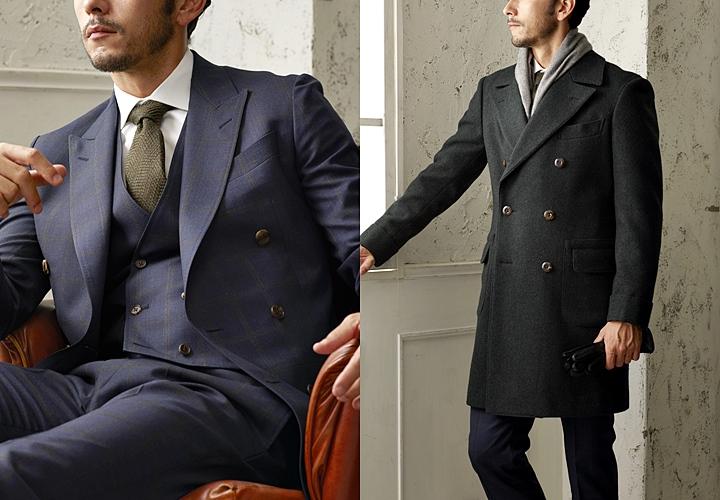 カジュアルなチェック柄のスーツ×アルスターコート