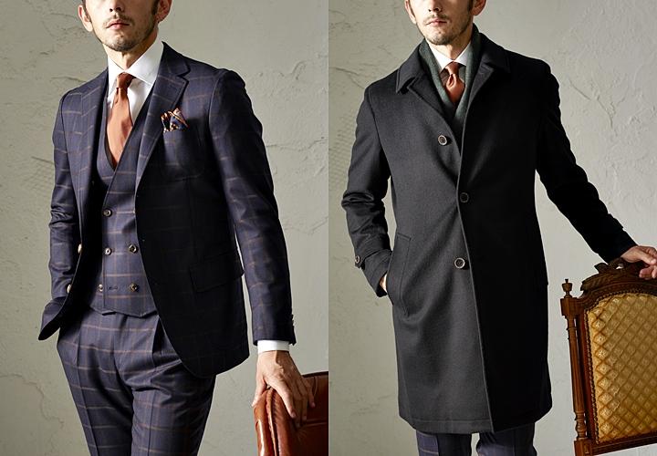 チェック柄のネイビースーツ×ブラックのバルカラーコートスタイル