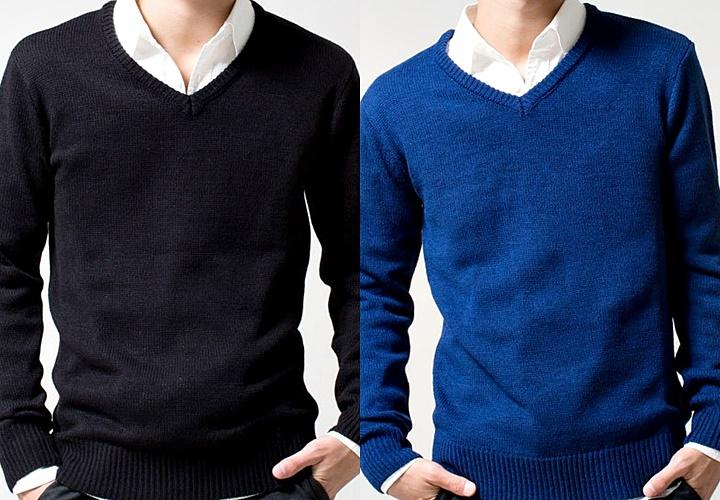 ネイビーとブルーのハイゲージセーター