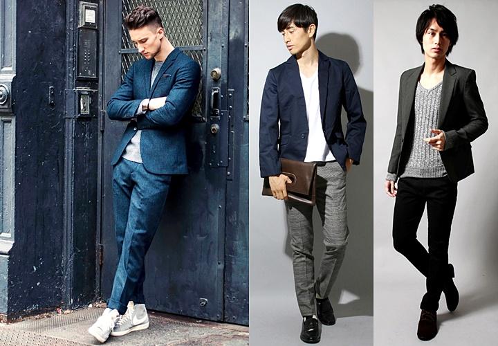 カットソーやシャツと合わせたジャケットスタイル