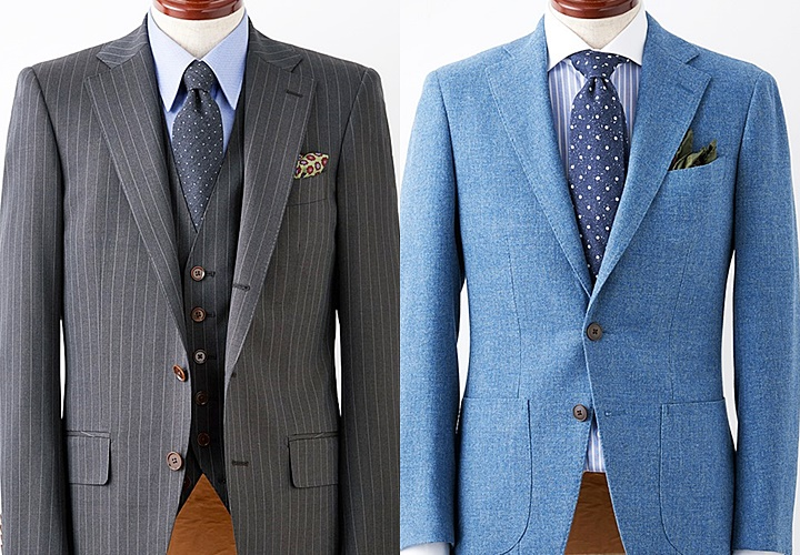 カジュアルスーツのジャケット:肩パットあり(左)肩パットなし(右)