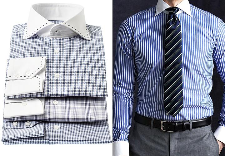 チェックとストライプのクレリックシャツ