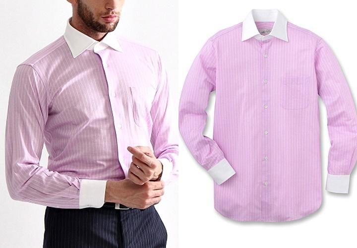 ピンクカラーのストライプ柄クレリックシャツ