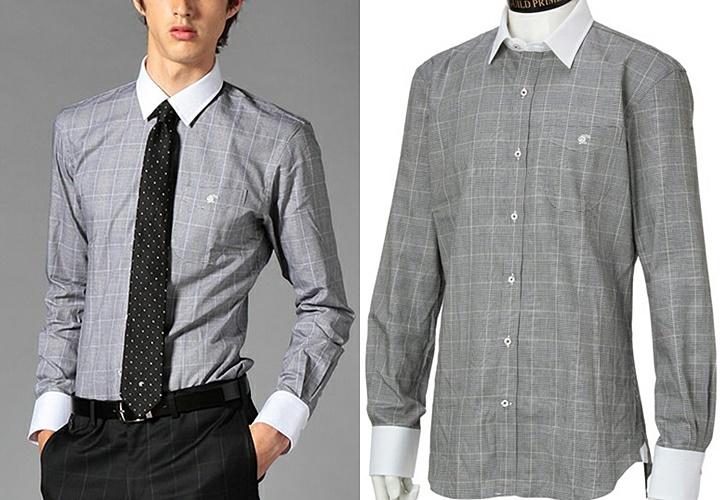グレーカラーのチェック柄クレリックシャツ