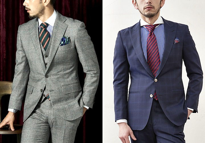 グレーとネイビーのチェック柄スーツに合わせたクレリックシャツコーディネート