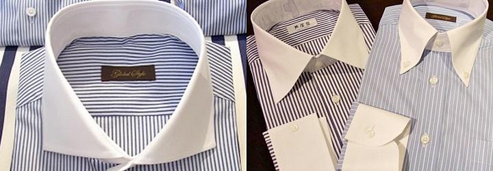 襟が白いストライプ柄のクレリックシャツ