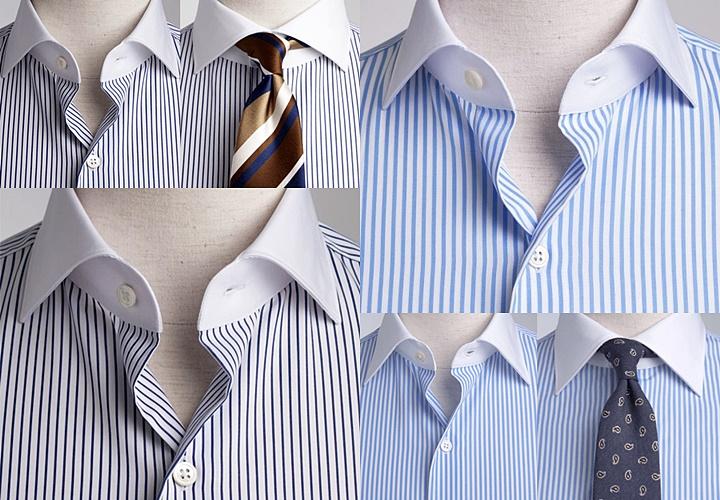 ストライプ柄のクレリックシャツの胸元とネクタイ