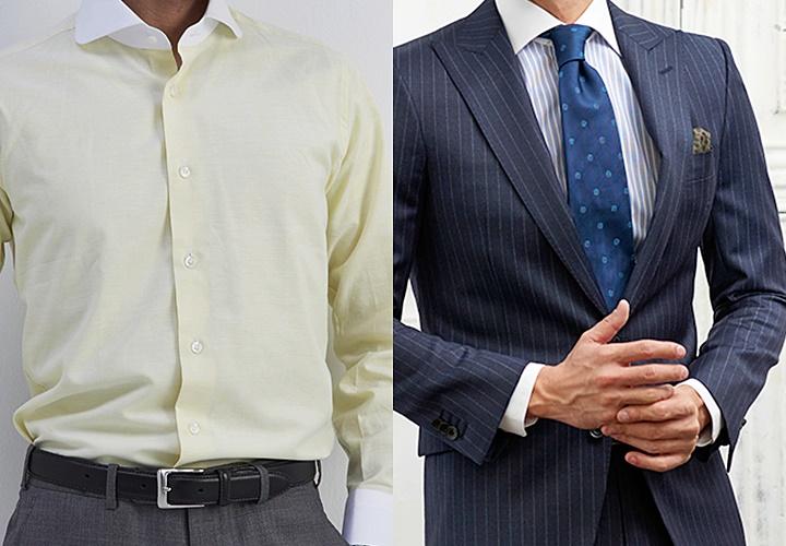 イエローのクレリックシャツとネイビーストライプのスーツ