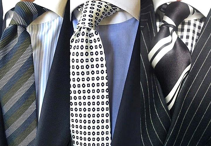 ストライプと小紋柄のネクタイ