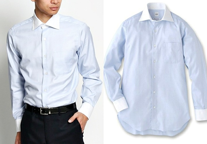 ブルーカラーのクレリックシャツ