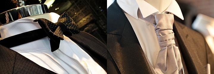 ドット柄の蝶ネクタイとアスコットタイ