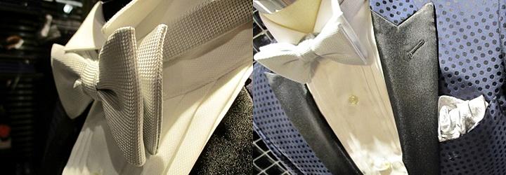 ウィングカラーシャツに合わせた蝶ネクタイ