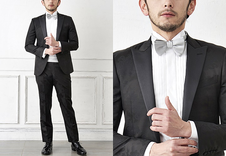 ブラックスーツ×ウィングカラーシャツコーディネート