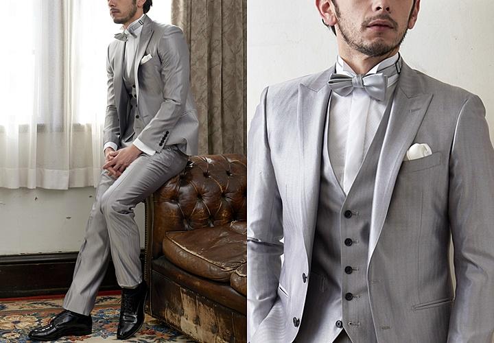 グレーカラースーツ×ウィングカラーシャツコーディネート