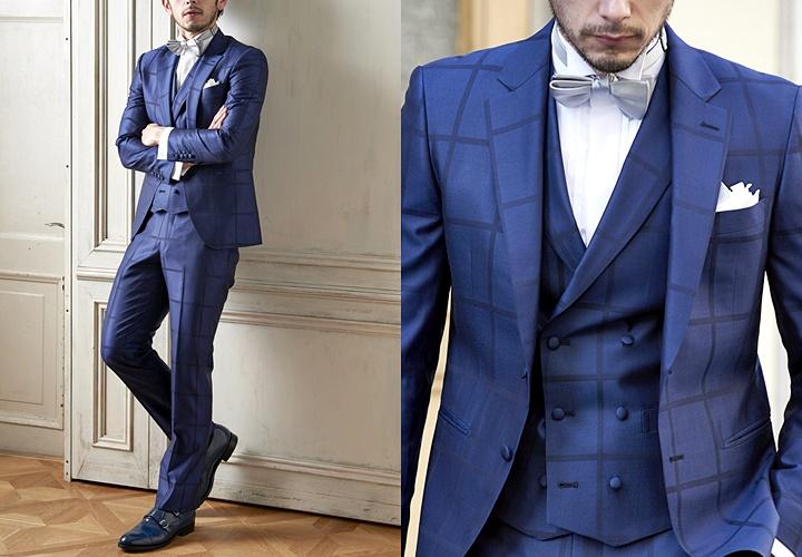ネイビーカラースーツ×ウィングカラーシャツコーディネート