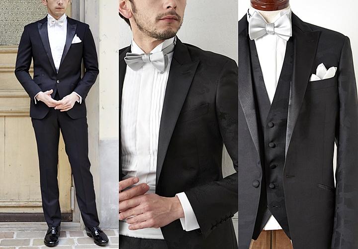 ブラックスーツと蝶ネクタイ