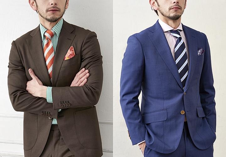 春夏カラーのスーツスタイル