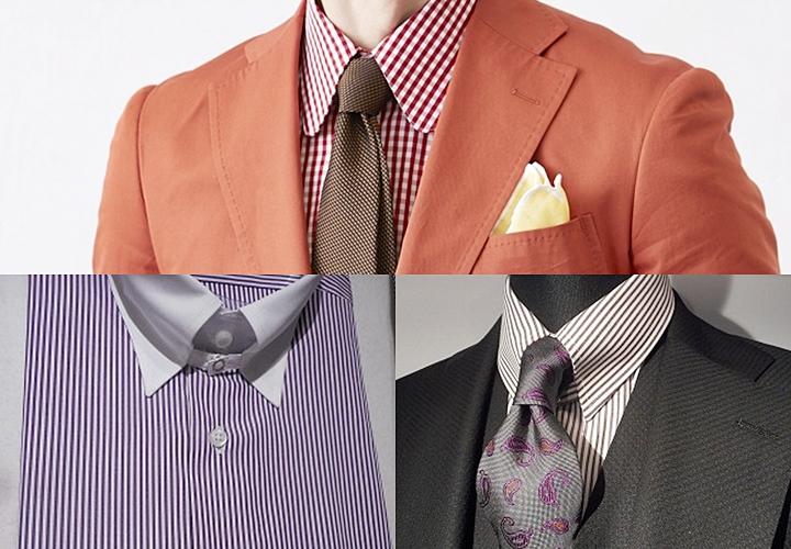 上:ラウンド、左下:タブカラー、右下:タブカラーシャツ