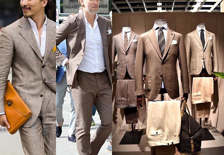 ライトトーンのブラウン系 春夏スーツ
