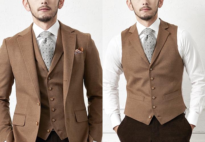 フランネル・ツイードなど、素材感のあるスーツ