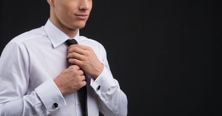 白のオーダーシャツ ネクタイ
