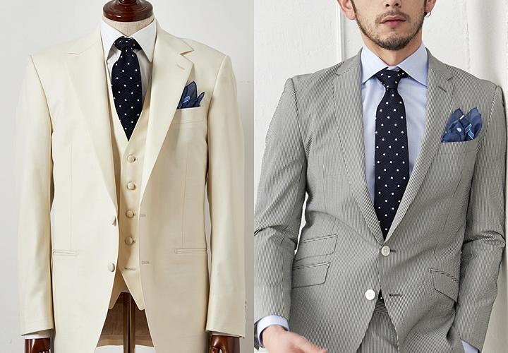 ドット柄のニットタイのスーツスタイル