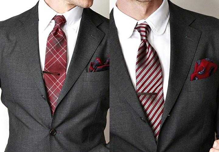 ビジネスシーンのネクタイピン×赤ネクタイ
