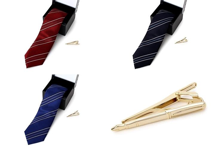 ストライプ柄のネクタイとネクタイピン