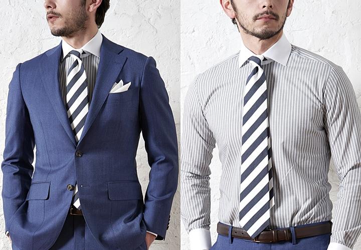 ネイビースーツ×クレリックシャツ