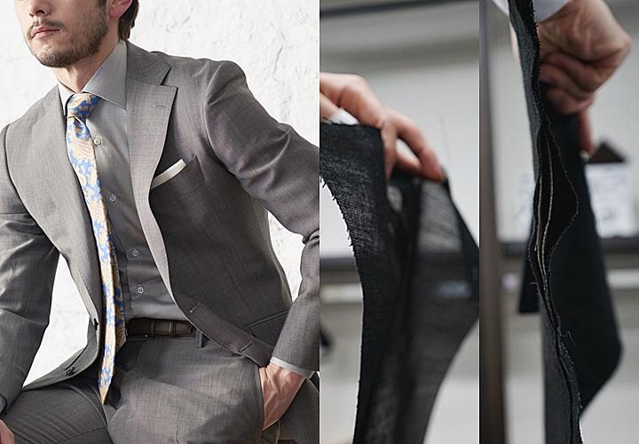 グレースーツ(中央)ウルトラクール仕様(右)通常のジャケット