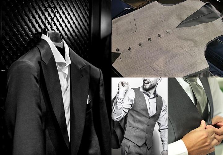 結婚式のスーツブラック・グレーベスト