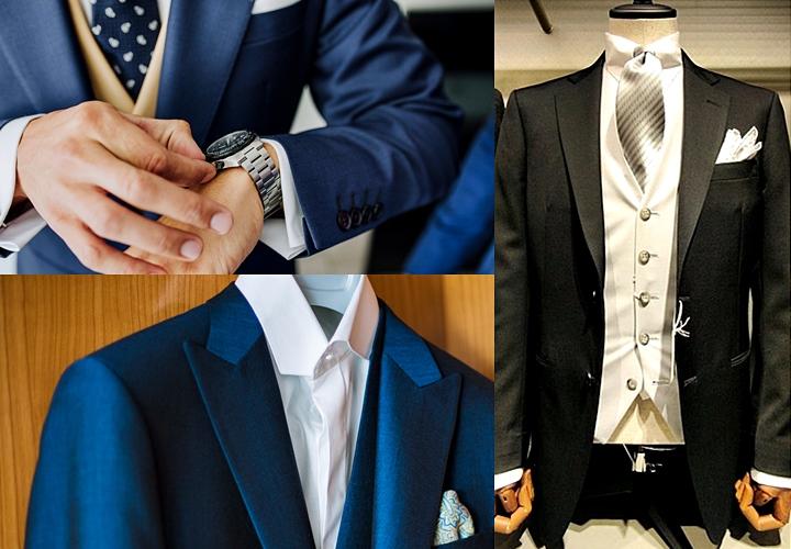 結婚式の服装、ダーク系のネイビーやグレーのスーツで参列