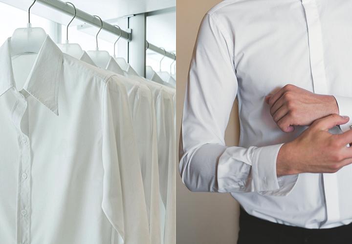 結婚式の服装、シャツは無地の白