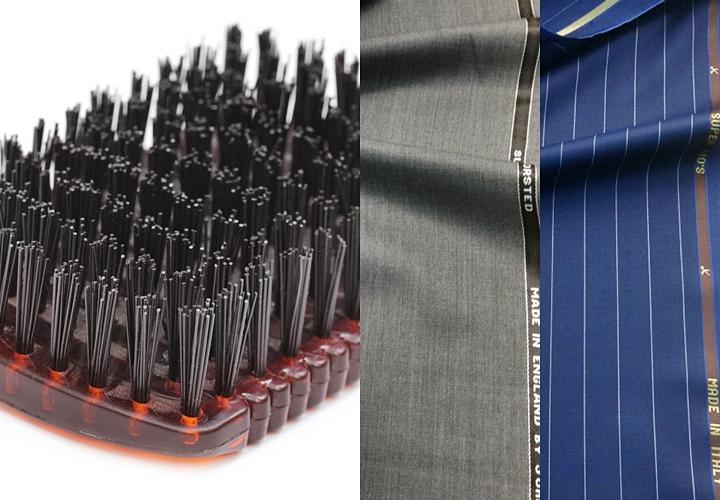 ビジネススーツには、静電気が起こりにくいブラシ