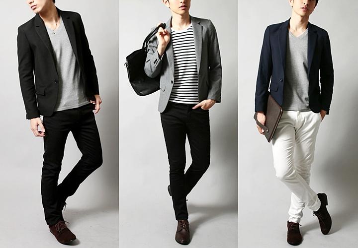 テーラードジャケット、ブラック・グレー・ネイビースタイル