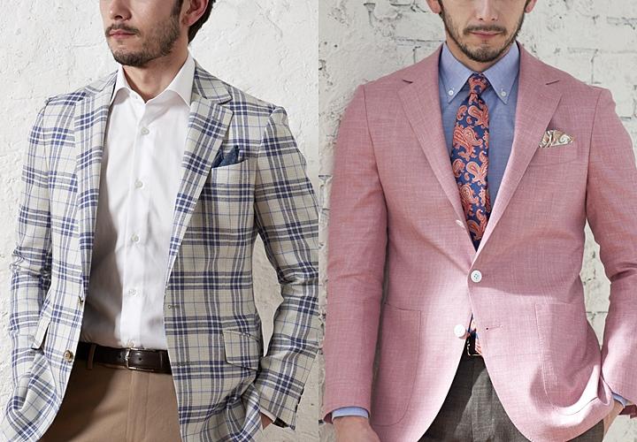 春夏のジャケットスタイル、チェック柄・ピンク